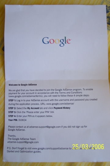Google Adsense Postcard